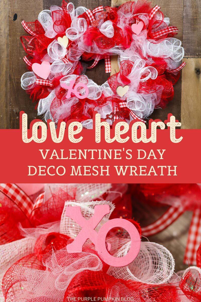 love heart valentine's Day deco mesh wreath