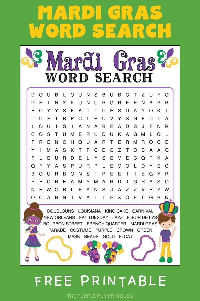 Mardi Gras Wordsearch Free Printable