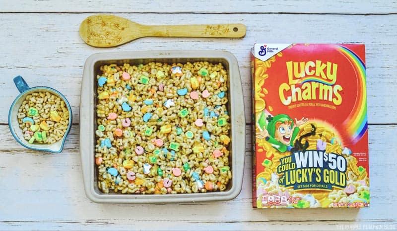 Adding Lucky Charms Treats to Pan