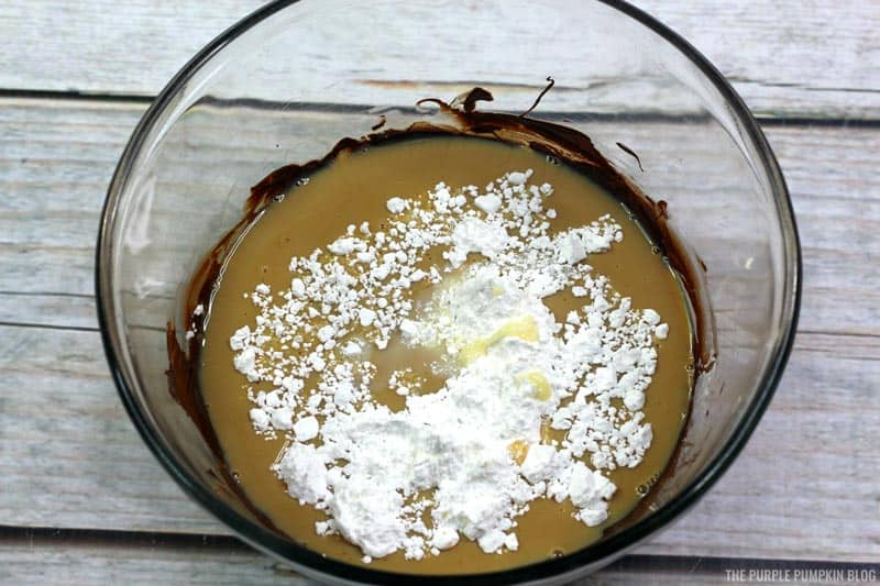 Bailey's Truffles Process Pic - condensed milk, Baileys, and powdered sugar
