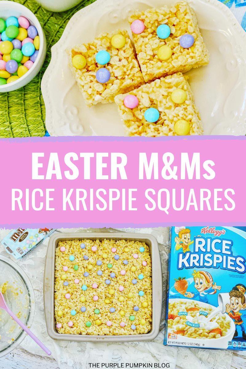 Easter M&Ms Rice Krispie Squares