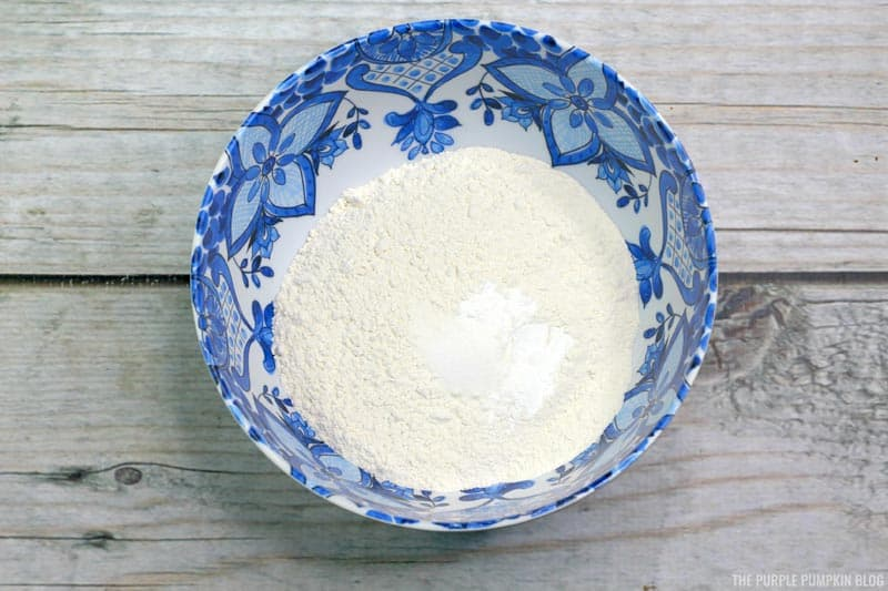 Flour and baking powder sifted