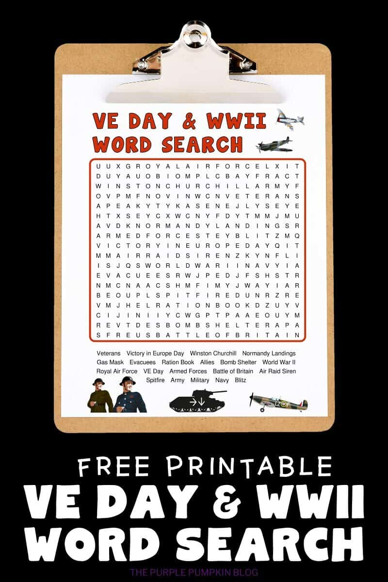 Free Printable VE Day & WWII Word Search