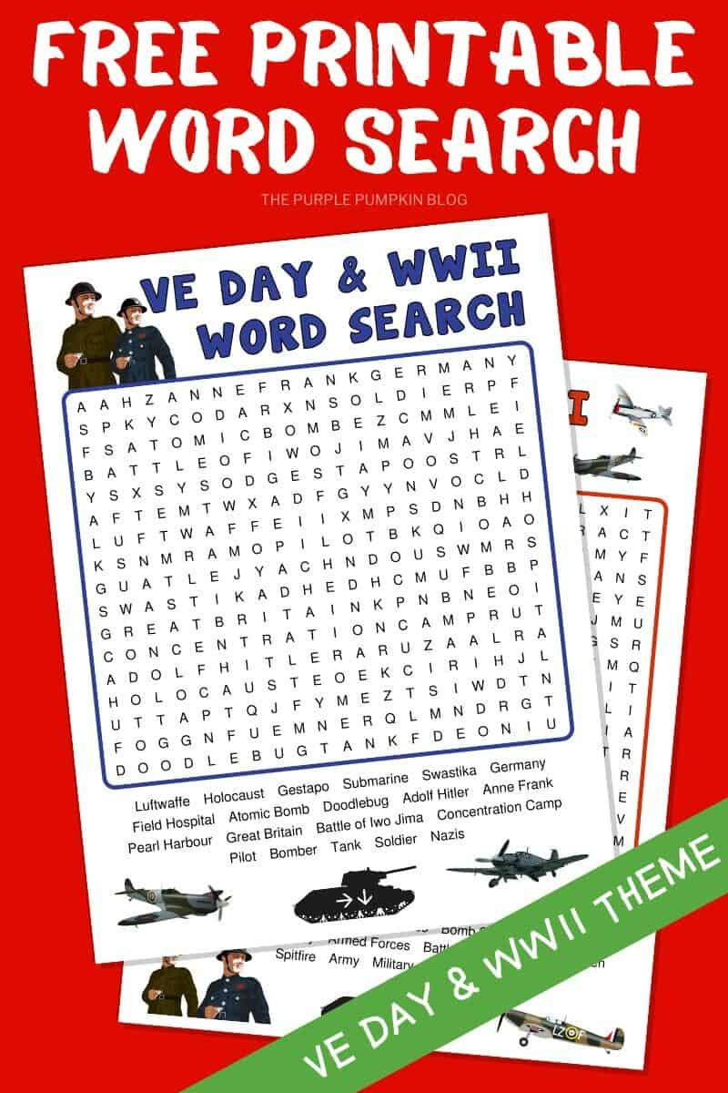 Free Printable Word Search for VE Day