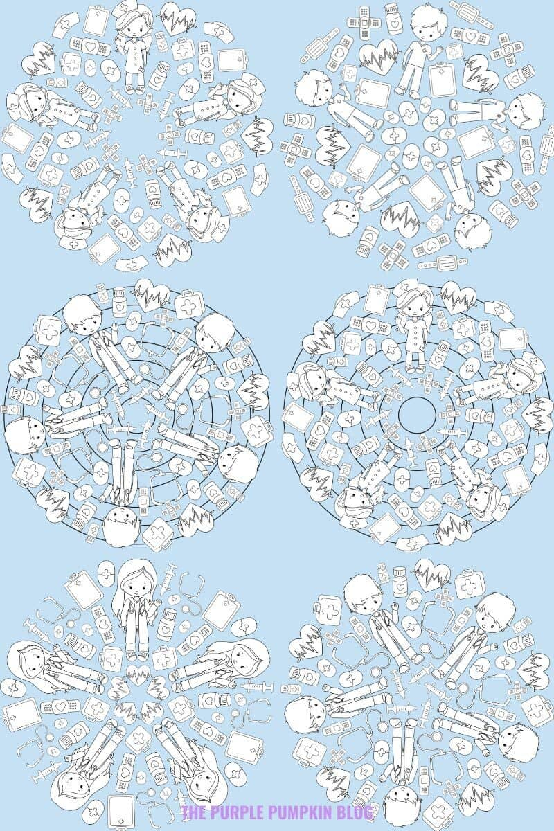 Healthcare Worker Mandalas To Colour