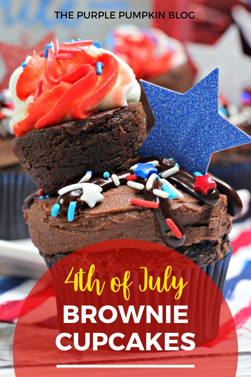 4th of July Chocolate Brownie Cupcakes