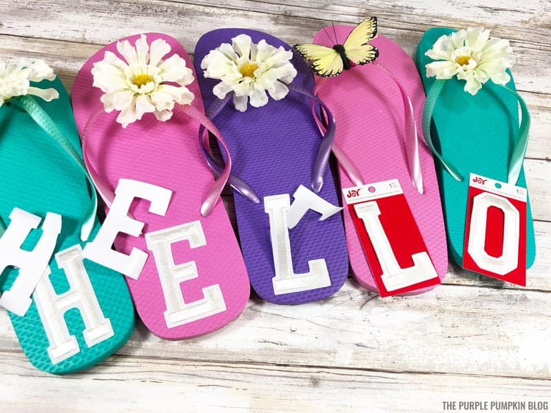 Attaching letters to flip flops
