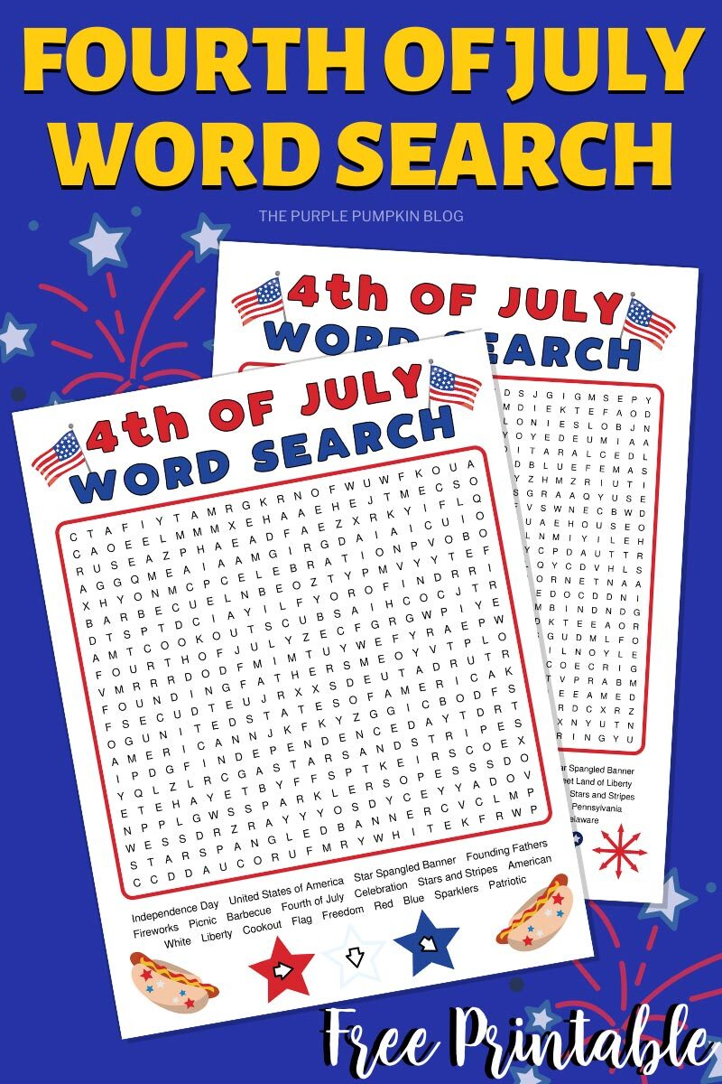 Fourth of July Word Search Free Printable