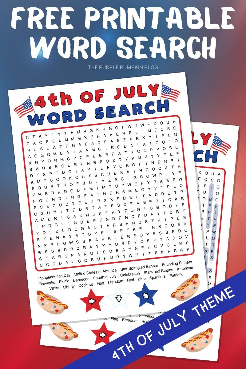 Free Printable Word Search for 4th of July