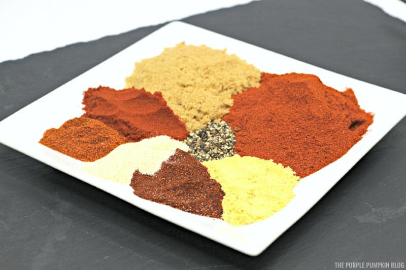A plate of different spices
