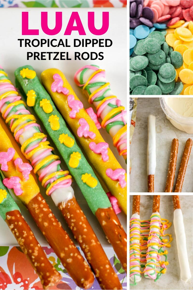 Luau Tropical Dipped Pretzel Rods