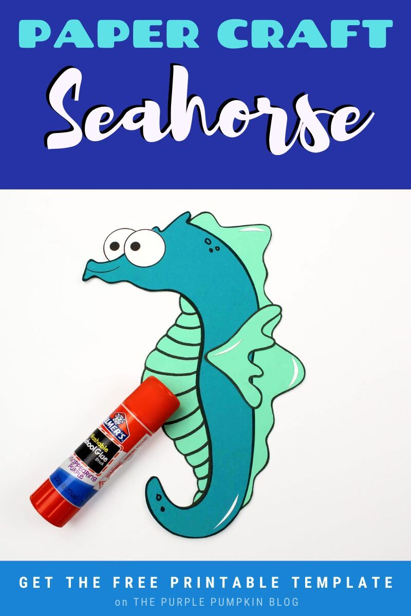 Paper Craft Seahorse with Free Printable Template