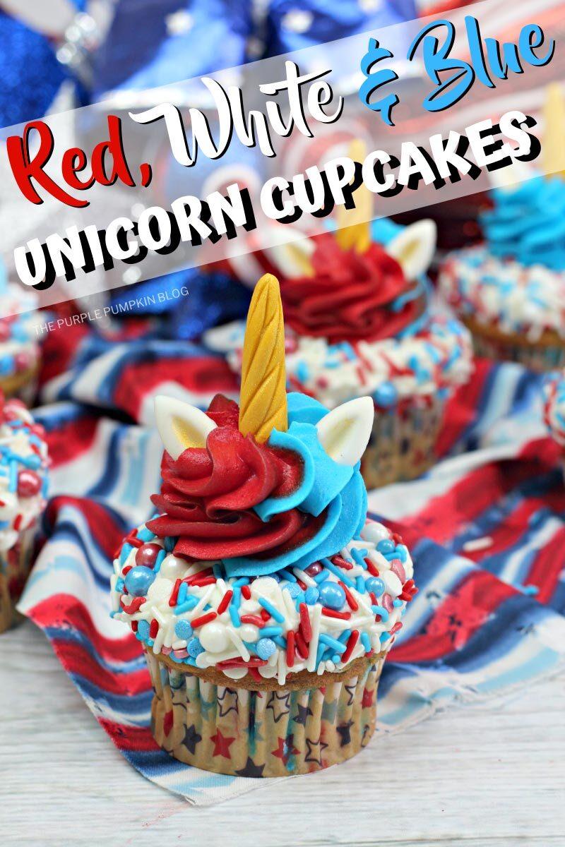 Red White & Blue Unicorn Cupcakes