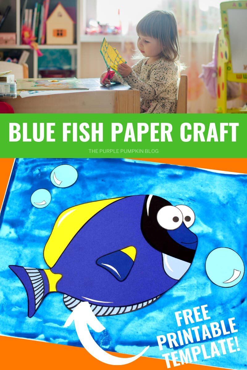 Blue Fish Paper Craft - Free Printable Template