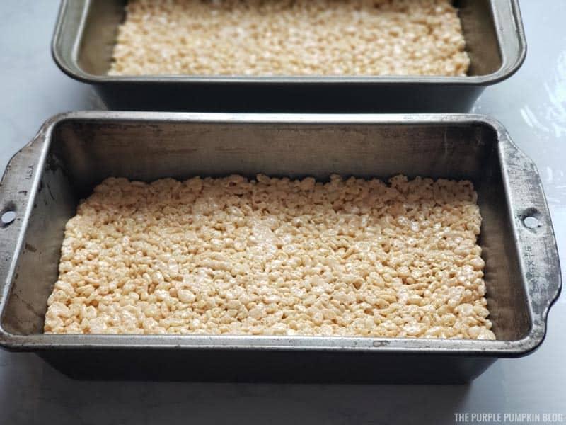 Rice Krispies mixture in loaf pans