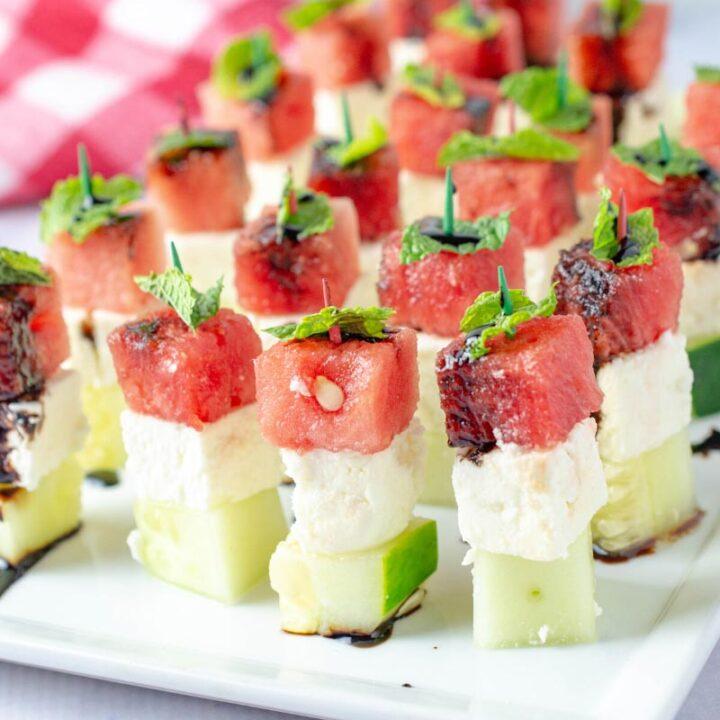 Cucumber Feta Watermelon Skewers Party Appetizer