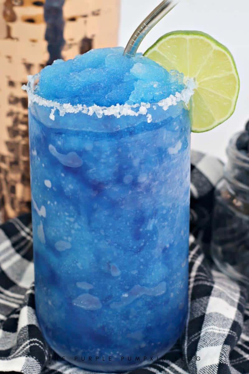 Frozen Blueberry Margaritas with Salt Rim