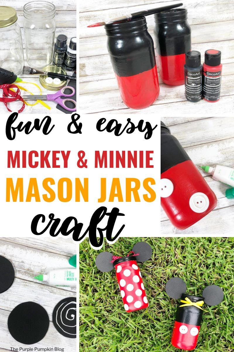 Fun & Easy Mickey & Minnie Mason Jars Craft
