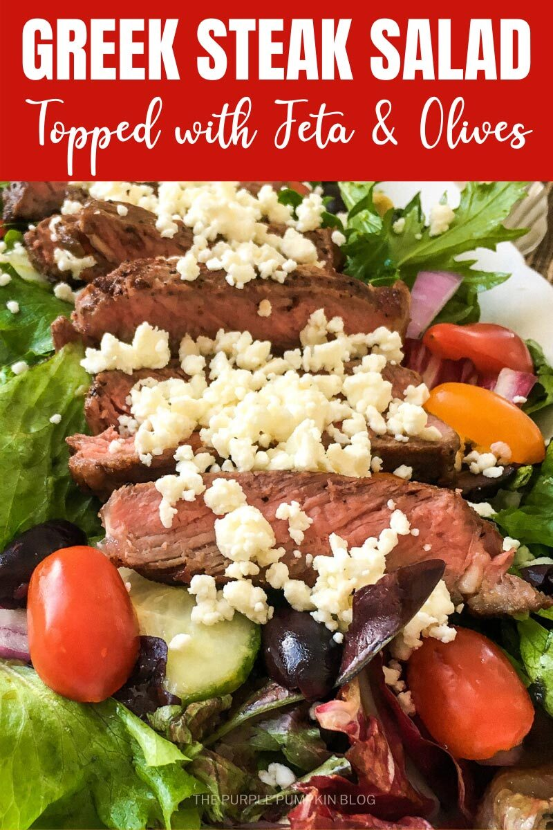 Greek Steak Salad Topped with Feta & Olives