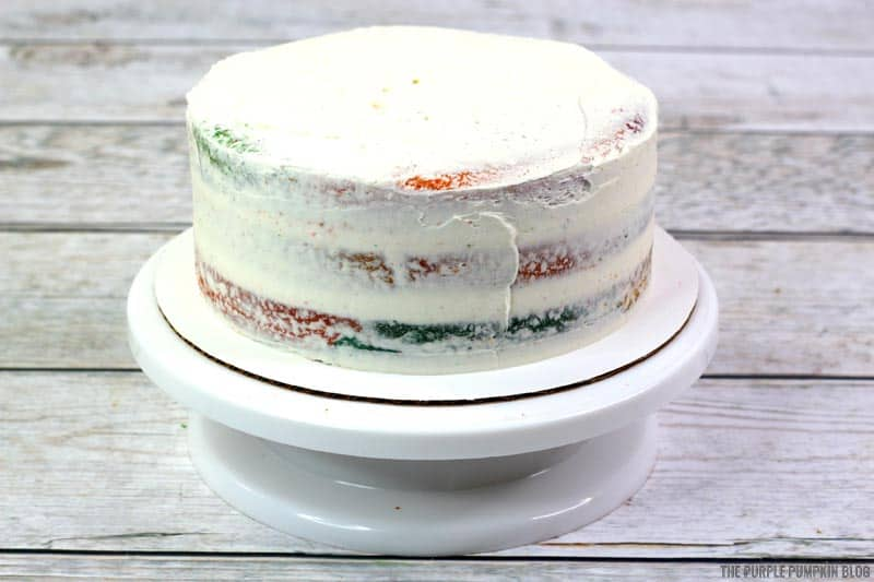 Completely white frosted hippie cake