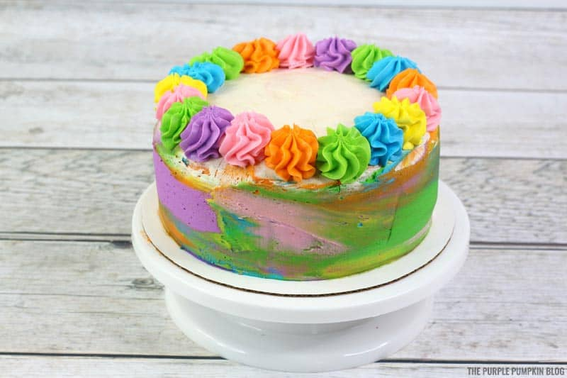 Frosted swirls on top of hippie cake