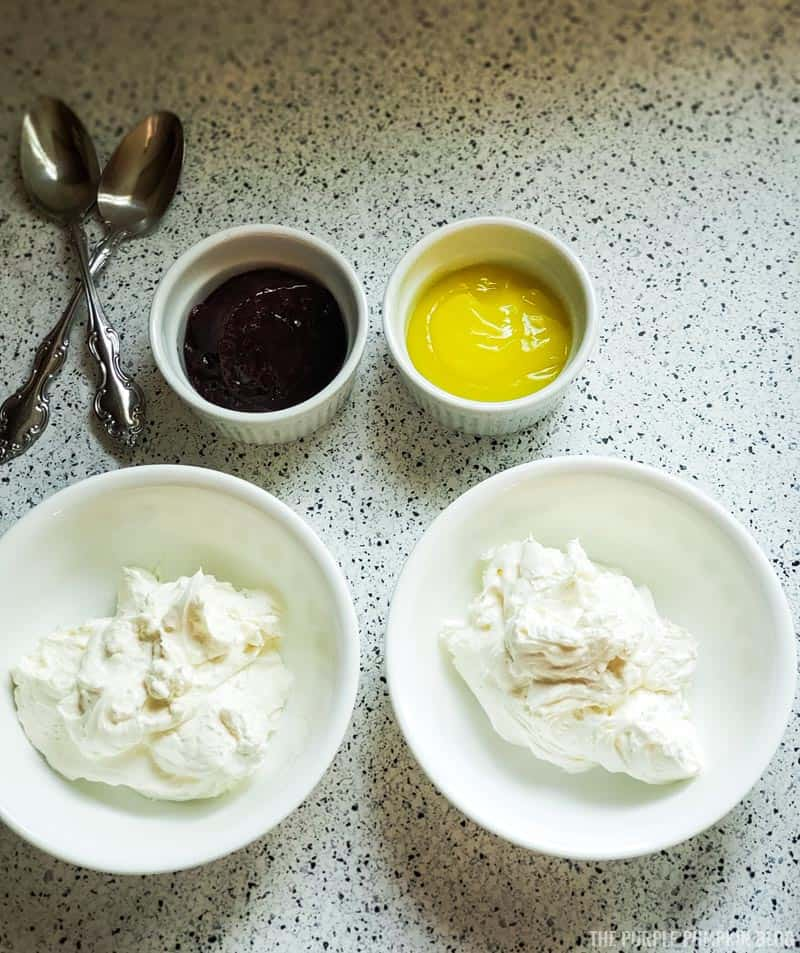 bowls with plain cheesecake mixture