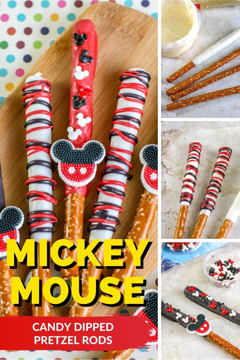 Mickey Mouse Candy Dipped Pretzel Rods