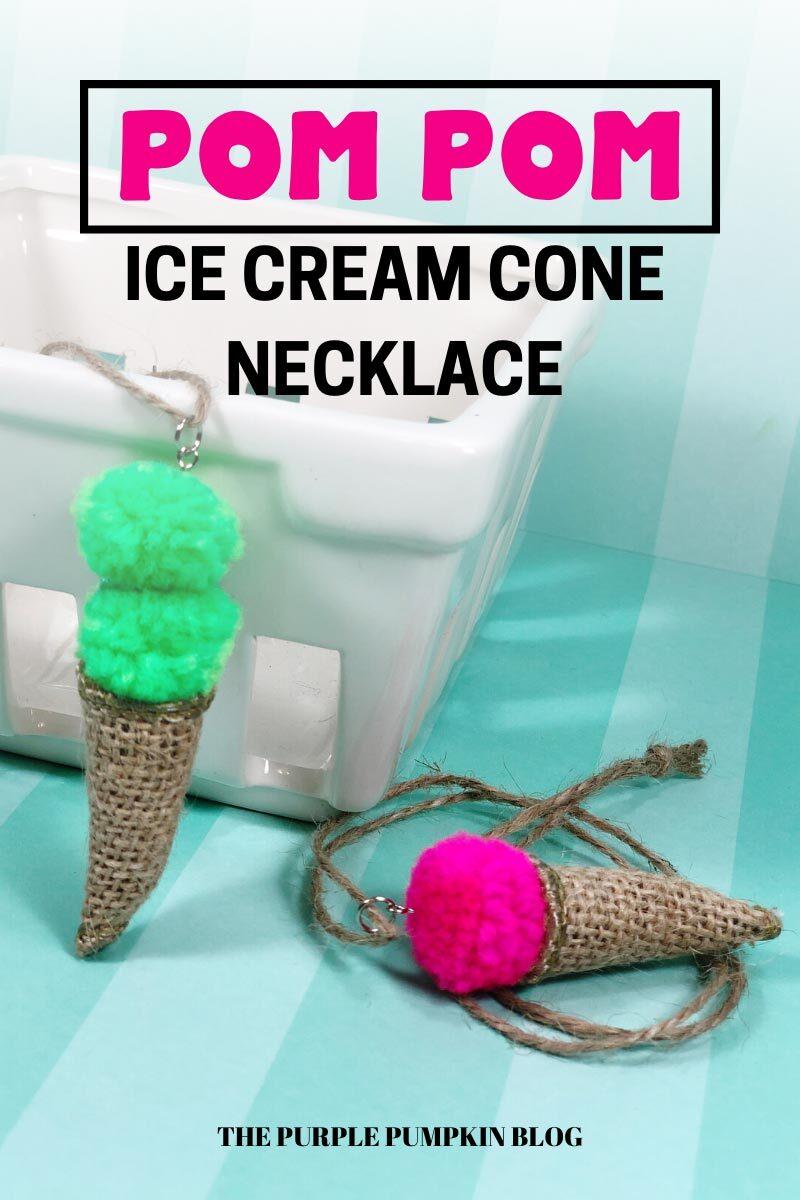 Pom Pom Ice Cream Cone Necklace