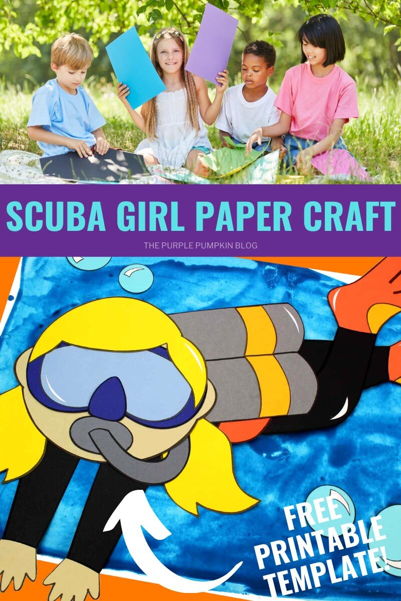 Scuba Girl Paper Craft - Free Printable Template!
