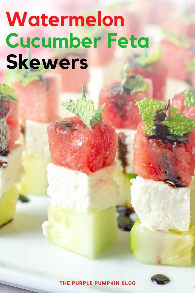 Watermelon Cucumber Feta Skewers