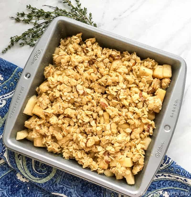 Apple Crisp Topping added to Pan - Ready for Baking
