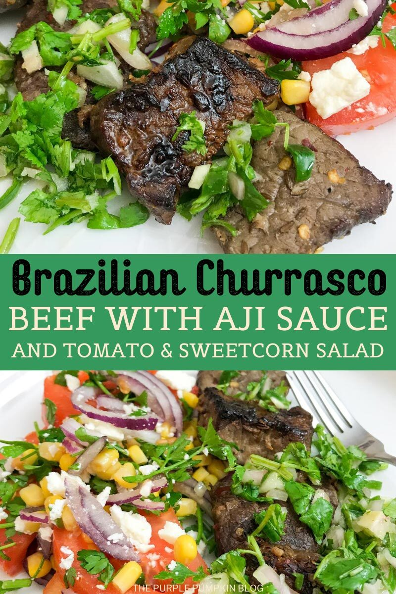 Brazilian Churrasco Beef with Aji Sauce and Tomato & Sweetcorn Salad