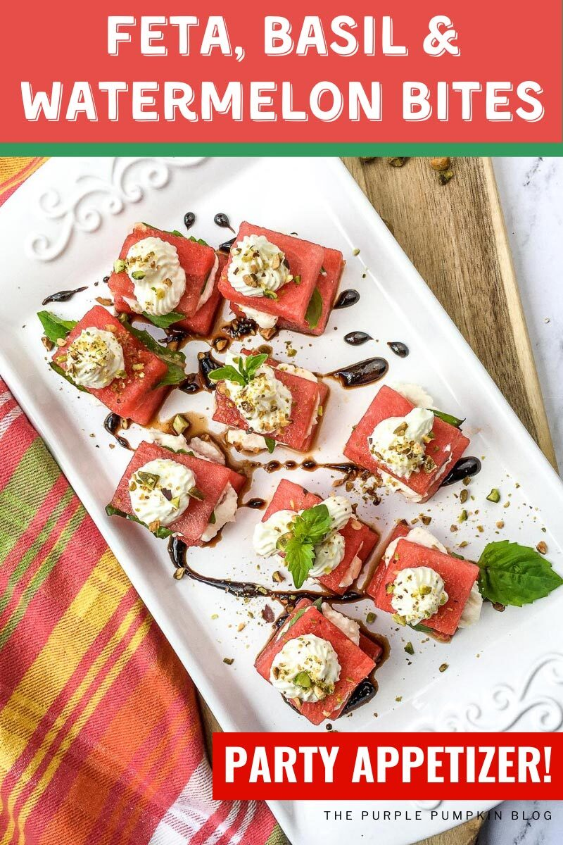 Feta Basil & Watermelon Bites Party Appetizer