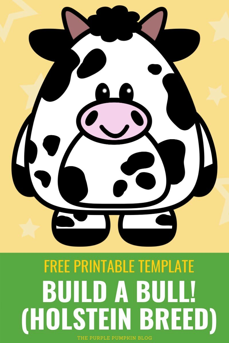 Free Printable Template - Build a Bull! (Holstein Breed)