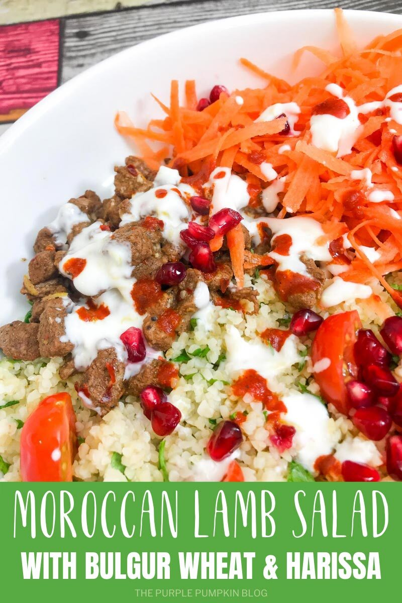 A white bowl filled with Moroccan Lamb Salad with Bulgur Wheat & Harissa Garlic Yogurt Dressing. Similar photos of the recipe/dish from various angles are used throughout and with different text overlay unless otherwise described.