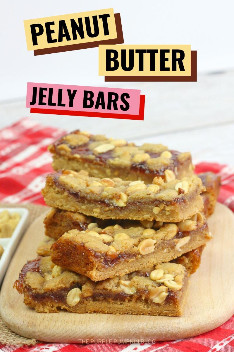 A stack of Peanut Butter Jelly Bars on a wooden board sat on a red checkered cloth. Similar photos of the recipe/dish from various angles are used throughout and with different text overlay unless otherwise described.
