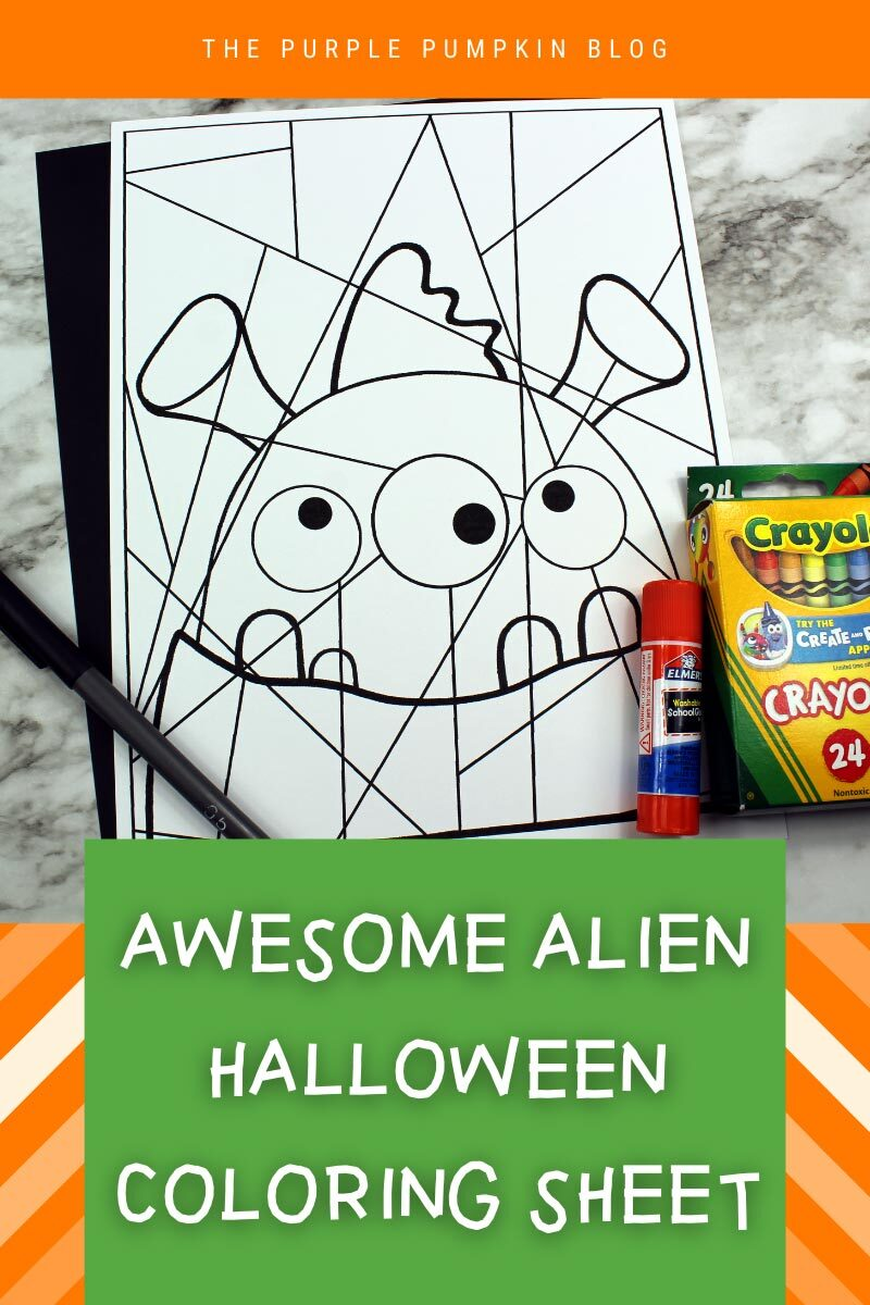 Awesome Alien Halloween Coloring Sheet