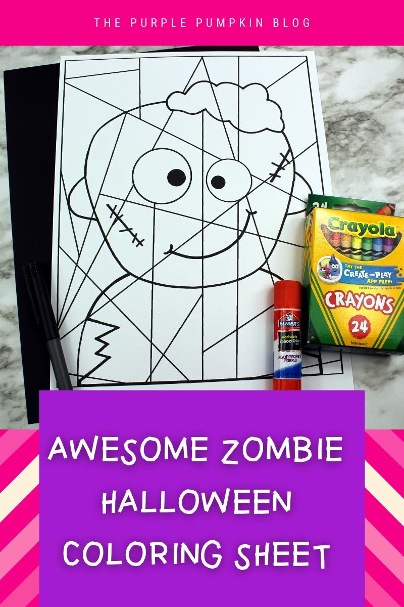 Awesome Zombie Halloween Coloring Sheet