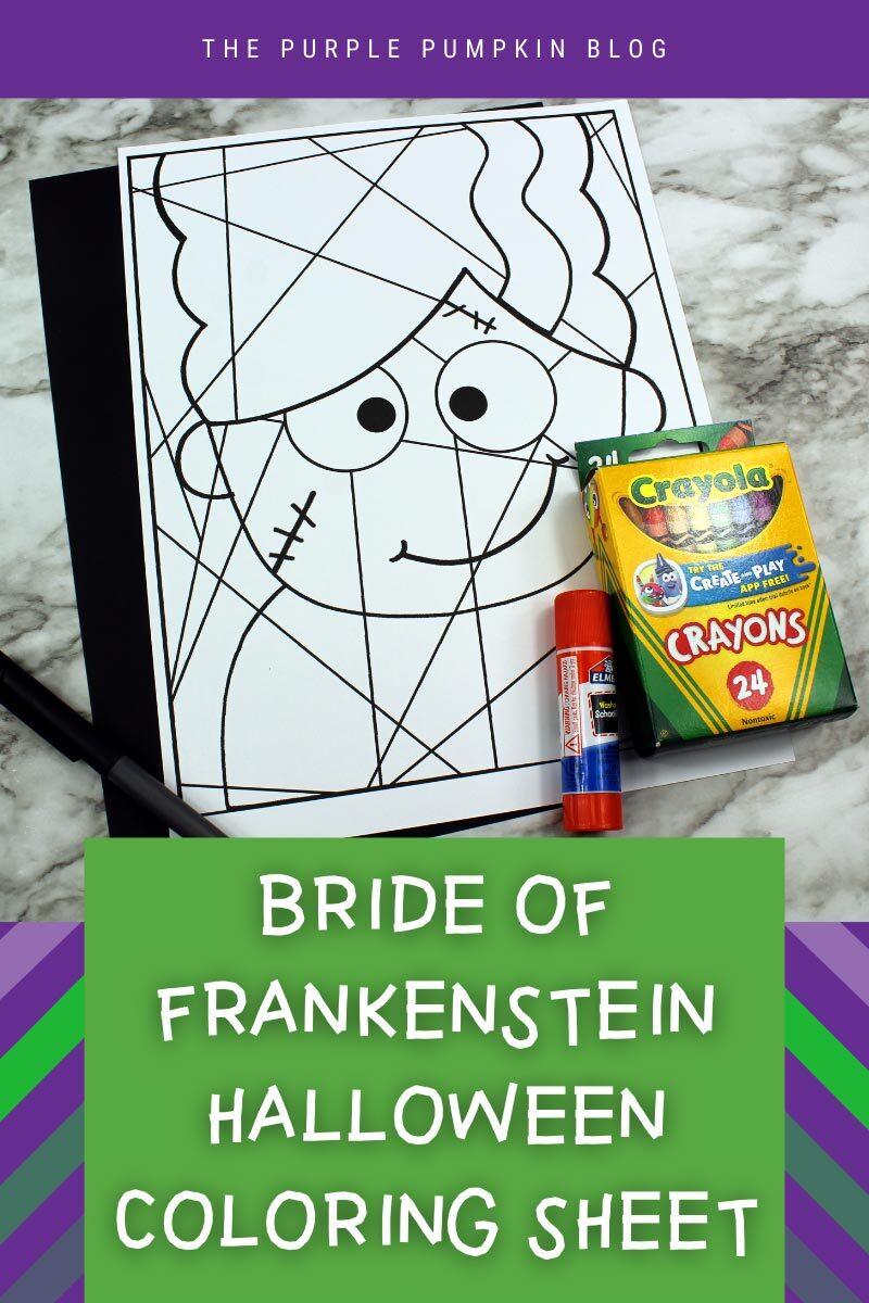 Bride of Frankenstein Halloween Coloring Sheet