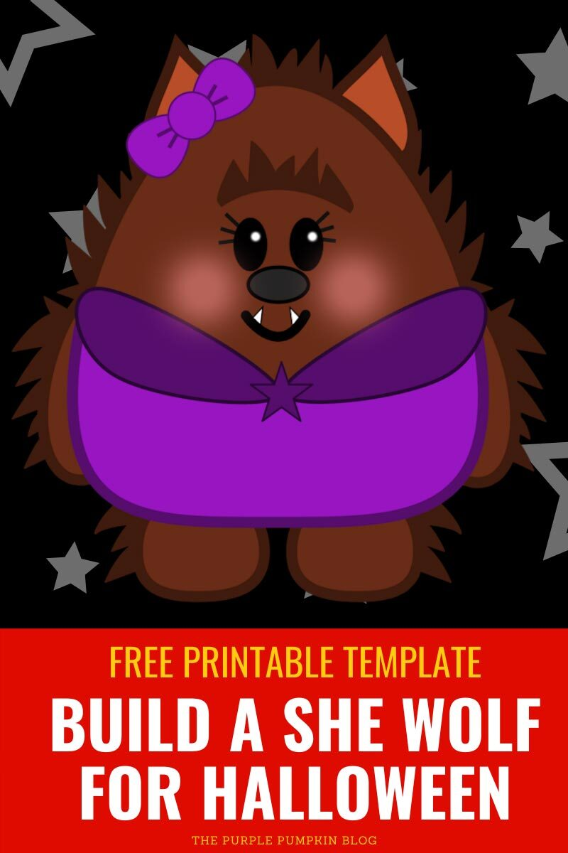 Build a She-Wolf for Halloween - Free Printable Template