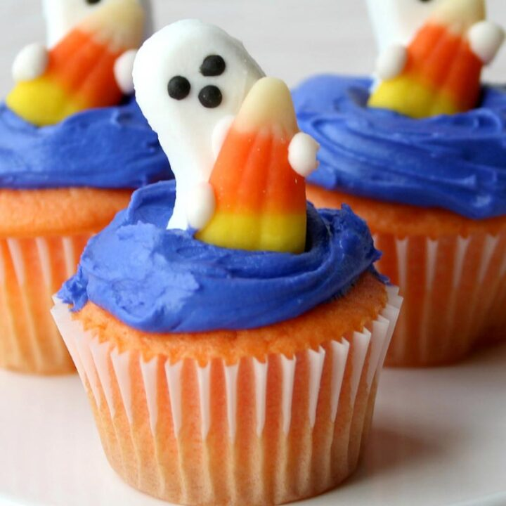 Candy Corn Ghost Cupcakes Recipe