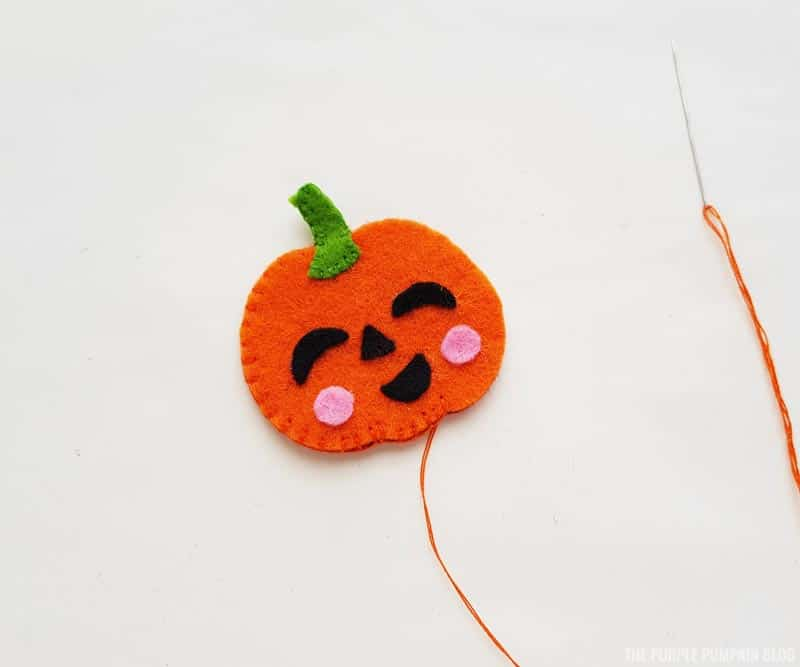 sewing pumpkin together