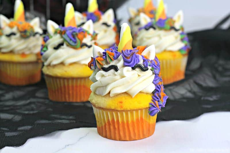 Finished Candy Corn Unicorn Cupcakes