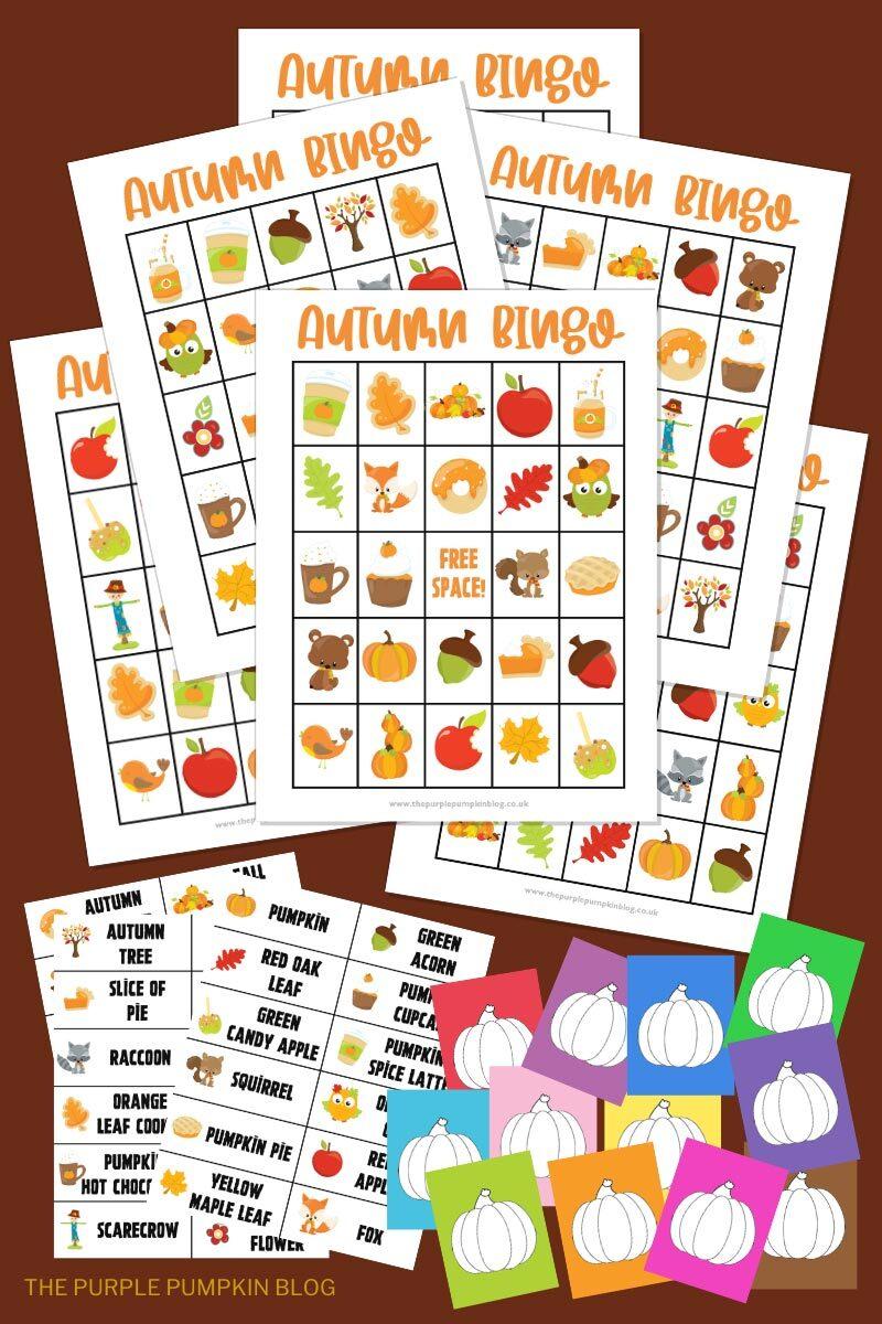 Free Printable Autumn Fall Bingo Card Set