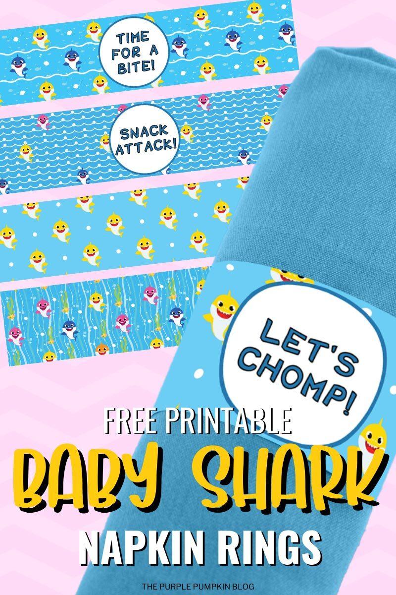 Free Printable Baby Shark Napkin Rings