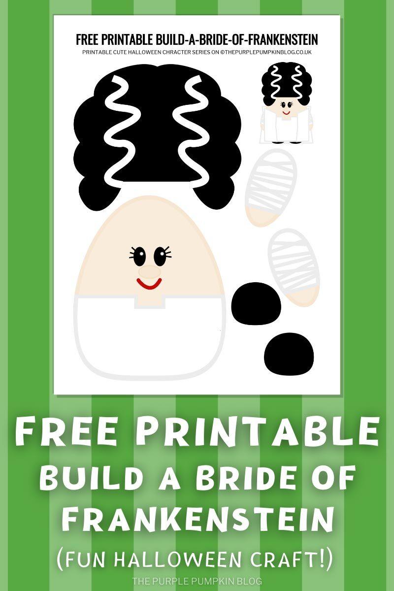Free Printable Build a Bride of Frankenstein Halloween Craft