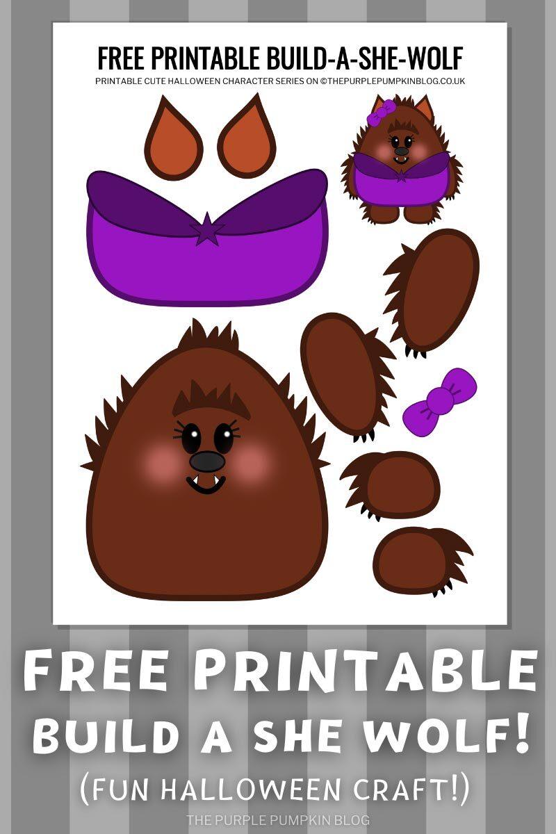 Free Printable Build a She-Wolf - Fun Halloween Craft