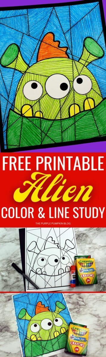 Free Printable Coloring Sheet & Line Study - Alien