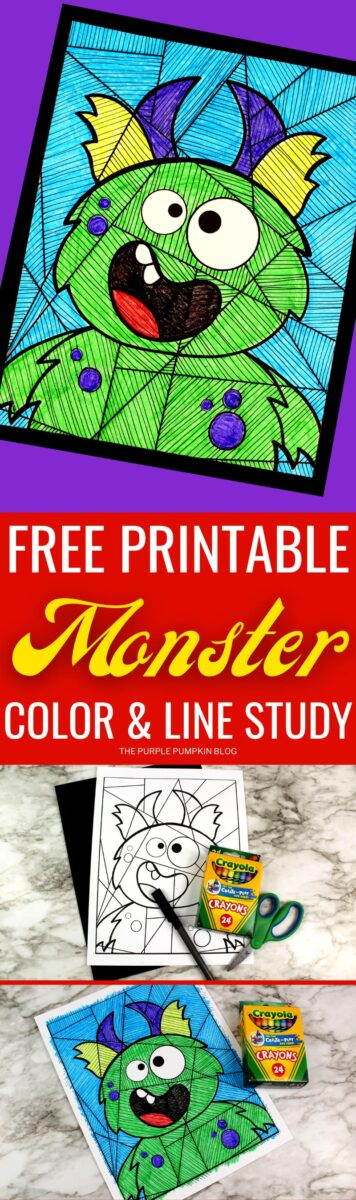 Free Printable Coloring Sheet & Line Study - Green Monster