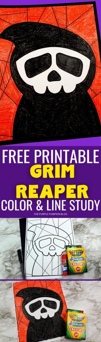 Free Printable Coloring Sheet & Line Study - Grim Reaper